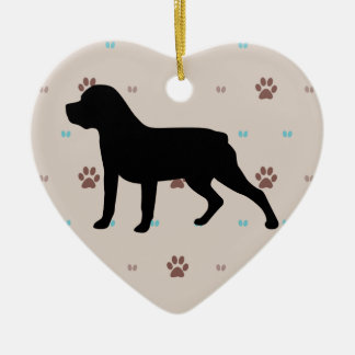 Rottweiler Silhouette Double-Sided Heart Ceramic Christmas Ornament