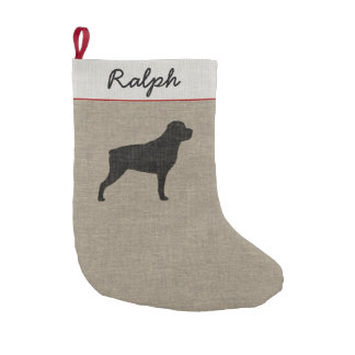 Rottweiler Silhouette with Custom Text Small Christmas Stocking