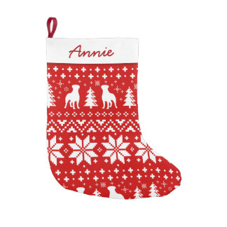 Rottweiler Silhouettes Red and White Pattern Small Christmas Stocking