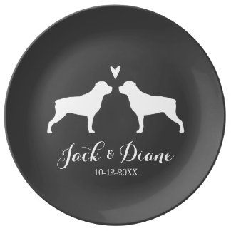 Rottweiler Silhouettes with Heart and Text Plate
