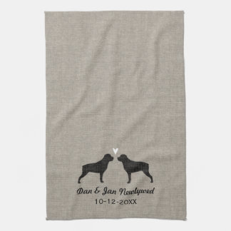 Rottweiler Silhouettes with Heart and Text Tea Towel