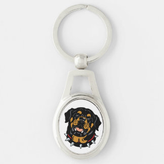 rottweiler Silver-Colored oval key ring