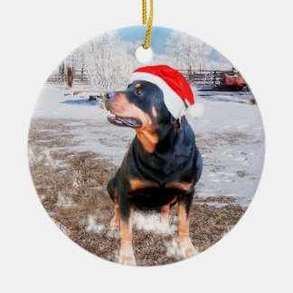 Rottweiler Snow Christmas Holiday Ornament