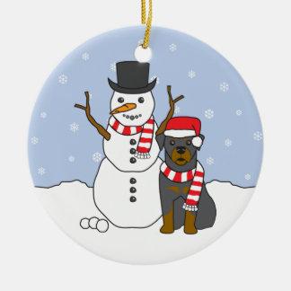 Rottweiler & Snowman Ornament