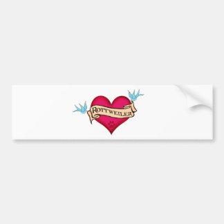 Rottweiler Tattoo Heart Bumper Sticker