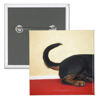 Rottweiler wagging tail, hind section 15 cm square badge