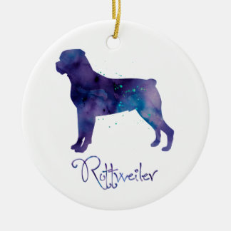 Rottweiler Watercolor Christmas Ornament