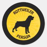 Rottweiler Xing Round Sticker