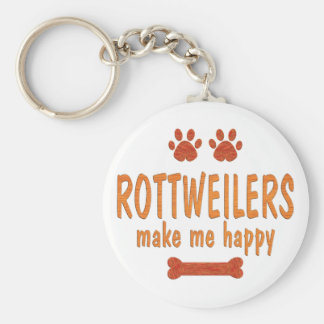 Rottweilers Make Me Happy Key Ring