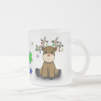 Roudolf with Colored Stars Frosted Glass Mug