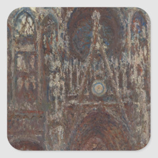 Rouen Cathedral, evening, harmony in brown Square Sticker