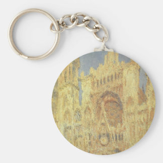Rouen Cathedral, Sunset by Claude Monet Key Ring