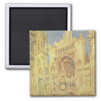 Rouen Cathedral, Sunset by Claude Monet Square Magnet
