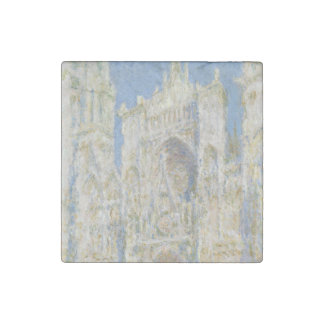 Rouen Cathedral West Facade Sunlight by Monet Stone Magnet