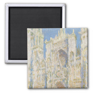 Rouen Cathedral West Facade Sunlight by Monet Magnets