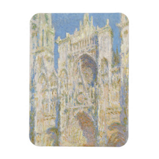 Rouen Cathedral West Facade Sunlight by Monet Rectangular Magnet