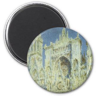 Rouen Cathedral West Facade Sunlight, Claude Monet 6 Cm Round Magnet