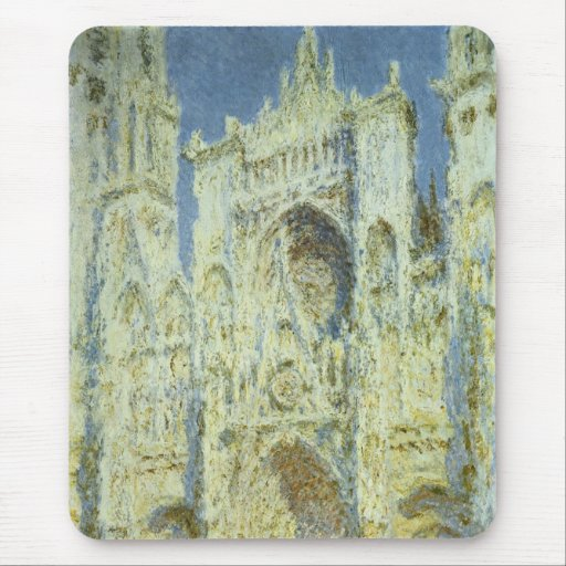 Rouen Cathedral West Facade Sunlight, Claude Monet Mouse Pad