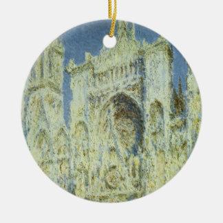 Rouen Cathedral West Facade Sunlight, Claude Monet Round Ceramic Decoration