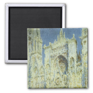 Rouen Cathedral West Facade Sunlight, Claude Monet Square Magnet