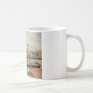 Rouen Port, Unloading Wood by Camille Pissarro Coffee Mug