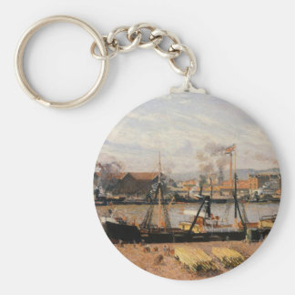 Rouen Port, Unloading Wood by Camille Pissarro Key Ring
