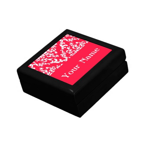 Rouge Bold Damask w/ name @ Emporiomoffa Keepsake Box