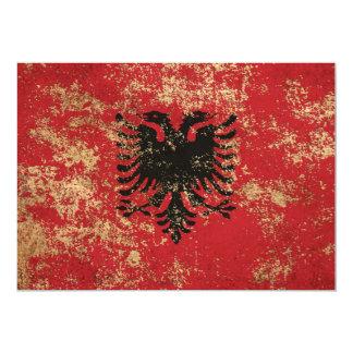 Rough Aged Vintage Albanian Flag Invites