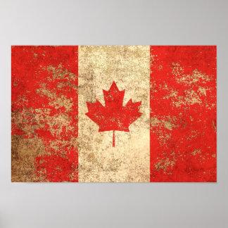 Rough Aged Vintage Canadian Flag Poster
