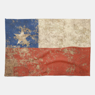 Rough Aged Vintage Chilean Flag Tea Towel
