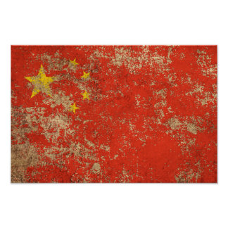 Rough Aged Vintage Chinese Flag Posters