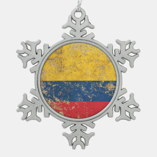 Rough Aged Vintage Colombian Flag Snowflake Pewter Christmas Ornament