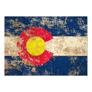 Rough Aged Vintage Colorado Flag Announcement Cards