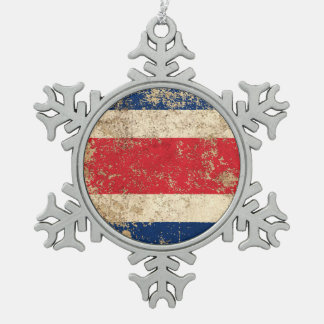 Rough Aged Vintage Costa Rica Flag Snowflake Pewter Christmas Ornament