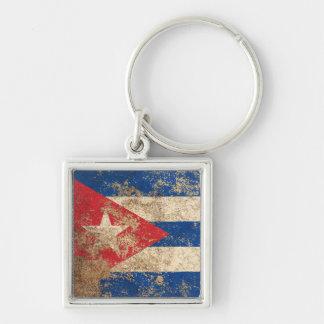 Rough Aged Vintage Cuban Flag Key Chains