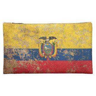 Rough Aged Vintage Ecuadorian Flag Makeup Bag