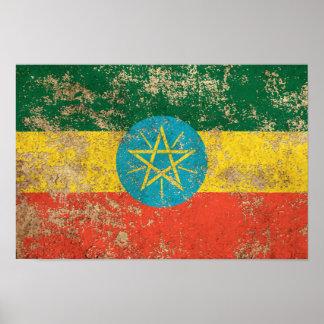 Rough Aged Vintage Ethiopian Flag Print