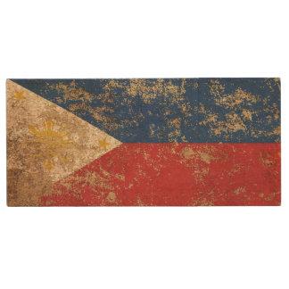 Rough Aged Vintage Filipino Flag Wood USB 2.0 Flash Drive