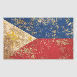 Rough Aged Vintage Filipino Flag Rectangle Stickers