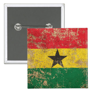 Rough Aged Vintage Ghana Flag Pinback Buttons