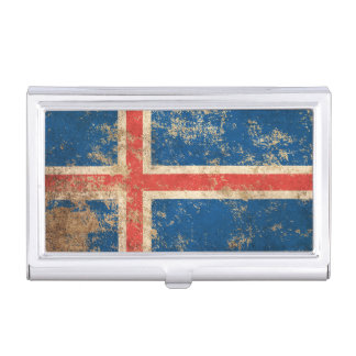 Rough Aged Vintage Icelandic Flag Business Card Holders