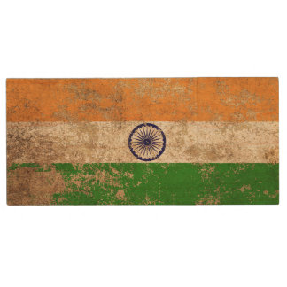 Rough Aged Vintage Indian Flag Wood USB 2.0 Flash Drive