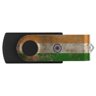 Rough Aged Vintage Indian Flag Swivel USB 2.0 Flash Drive