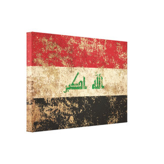 Rough Aged Vintage Iraqi Flag Stretched Canvas Prints