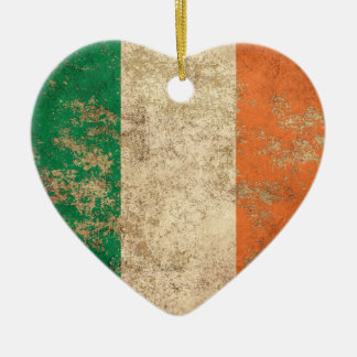 Rough Aged Vintage Irish Flag Christmas Ornament