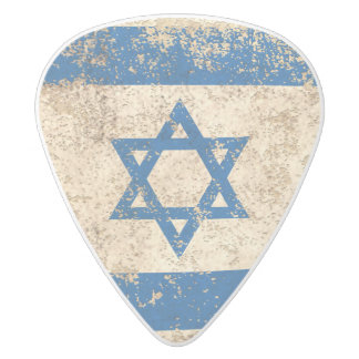 Rough Aged Vintage Israeli Flag White Delrin Guitar Pick