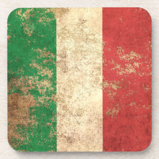 Rough Aged Vintage Italian Flag Coasters