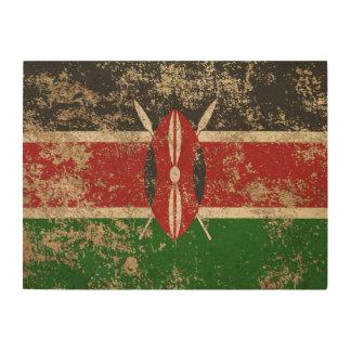 Rough Aged Vintage Kenyan Flag Wood Print