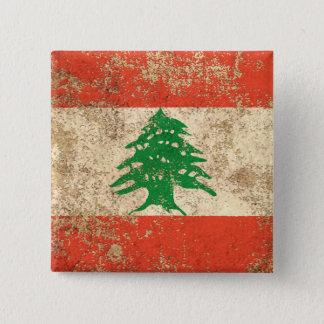 Rough Aged Vintage Lebanese Flag 15 Cm Square Badge