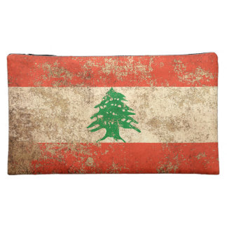 Rough Aged Vintage Lebanese Flag Makeup Bags